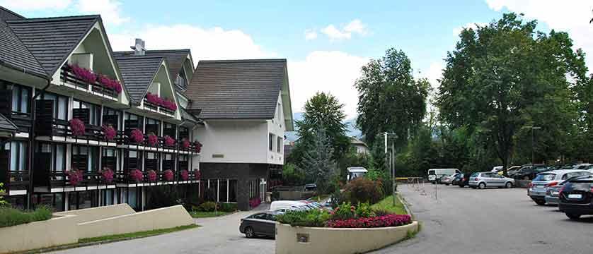 Hotel Kompas, Lake Bled, Slovenia - exterior, car park.jpg